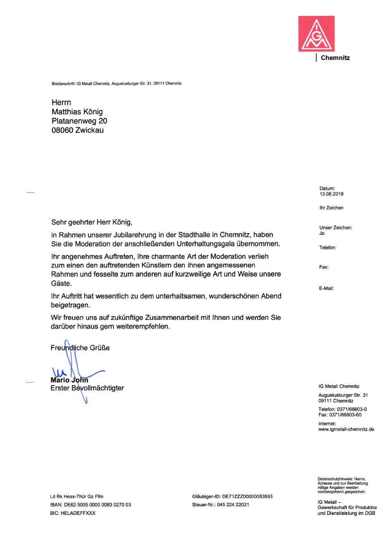 Referenz IG Metall Chemnitz